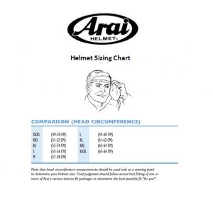Arai helmet size chart