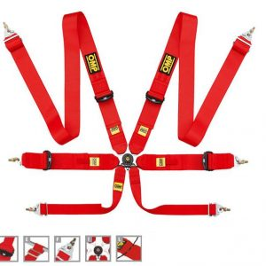 OMP 804 SuperLeggera 6 Point Light Weight Saloon Harness - Red