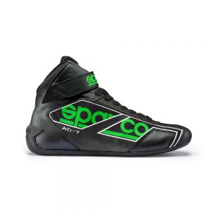 Sparco Shadow KB-7 Kart Shoes - Black-Fluro Green EU42 (US9.0)