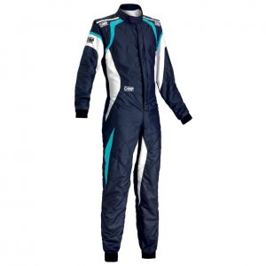 OMP ONE EVO Race Suit BLUE/ CYAN FRONT