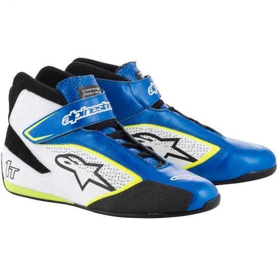 Alpinestars Tech 1-T Race Shoes blue/hite/fluro yellow
