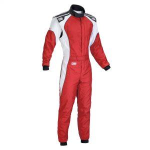 OMP KS-3 Kart Suit - Red - White - Child 160cm