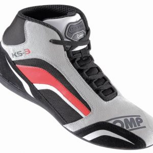 OMP KS-3 Kart Shoes - Grey-Black-Red EU35 (US3.5)