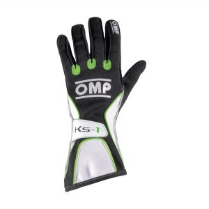 OMP KS-1 Kart Gloves - Black-White-Green Large