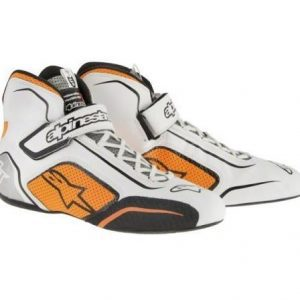 Alpinestars Tech 1-T Race Shoes - White-Fluro Orange US7.5