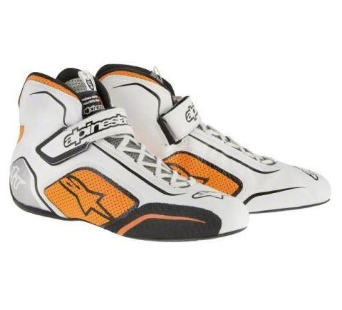 Alpinestars Tech 1-T Race Shoes - White-Fluro Orange US7.5
