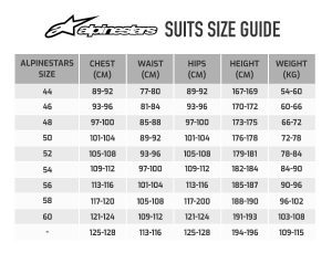 Alpinestars suit size guide