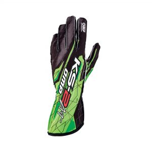 OMP KS-2 Art Gloves Black-Fluro Green front
