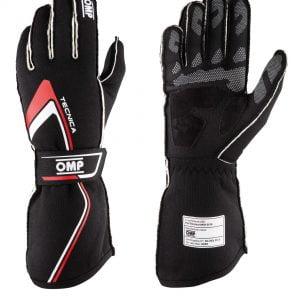 OMP 2021 FIA Tecnica Gloves - Black-Red