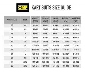 OMP-kart-suit-size-chart