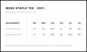 Mens Tshirt size guide 5001
